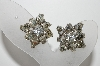 "MBA #E45-218   ""Vintage Silvertone Clear Crystal Fancy Rhinestone Clip On Earrings"""