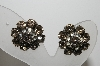 "MBA #E45-261   ""Kramer Silvertone Grey & Clear Crystal Rhinestone Clip On Earrings"""