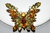 "**MBA #E45-227    ""Vintage Goldtone Yellow & Citrine Colored Rhinestone Butterfly Pin"""
