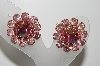 "MBA #E45-017   ""Judy Lee Goldtone Pink Crystal Rhinestone Clip On Earrings"""