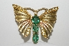 "**MBA #E45-171   ""Vintage Goldtone Green Stone & Clear Rhinestone Butterfly Pin"""