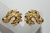 "MBA #E45-252   ""Vintage Goldtone Clear Crystal Rhinestone Clip On Earrings"""
