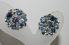"MBA #E45-005   ""Lisner Silvertone Blue Rhinestone Clip On Earrings"""