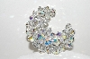 "**MBA #E45-174   ""Vintage Silvertone AB Crystal Bead Pin"""