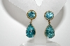 "**MBA #E45-046   ""Coro Goldtone Blue Rhinestone Drop Earrings"""