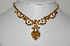 "MBA #E45-087   ""Vintage Goldtone Citrine & Brown Rhinestone Necklace/Choker """