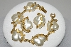 "MBA #E45-164   ""Judy Lee Goldtone Fancy Faux Pearl Bracelet & Earring Set"""