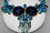 "MBA #E45-110   ""Vintage Goldtone Czech Blue Acrylic & Glass Rhinestone Fancy Necklace"""