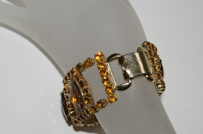 "+MBA #E45-157   ""Vintage Gold Tone Brown & Citrine Colored Rhinestone Bracelet"""