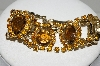 "MBA #E45-157   ""Vintage Gold Tone Brown & Citrine Colored Rhinestone Bracelet"""