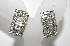 "MBA #E45-031   ""Vintage Silvertone Square Clear Crystal Rhinestone Earrings"""