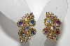 "MBA #E45-001    ""Vintage Gold Tone Fancy AB Crystal Rhinestone Clip On Earrings"""