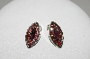 "MBA #E45-209   ""Vintage Silvertone Purple Glass & Red AB Crystal Rhinestone Clip On Earrings"""