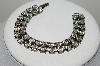 "MBA #E45-131   ""Vintage Antiqued Silvertone Two Row Clear Crystal Rhinestone Bracelet"""