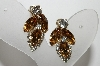 "+MBA #E45-023      ""Weiss Goldtone Citrine & Clear Crystal Rhinestone Earrings"""