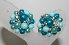"+MBA #E45-244   ""Vintage Made In Japan Blue Bead Cluster Earrings"""