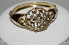 "MBA #E45-159   ""Judy Lee Gold Plated Blue Rhinestone Hinged Bracelet"""