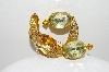 "**MBA #E46-065   ""Vintage Goldtone Yellow & Citrine Colored Stone Pin"""