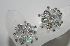 "MBA #E46-142   ""Vintage Silvertone Fancy AB Crystal & Rhinestone Clip On Earrings"""