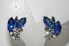 "MBA #E46-147   ""Vintage Silvertone Blue & Clear Crystal Rhinestone Clip On Earrings"""