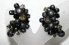 "MBA #E46-118   ""Laguna Black Glass Bead Clip On Earrings"""