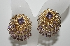 "MBA #E46-124   ""Vintage Goldtone Fancy Filigree Lavender Rhinestone Clip On Earrings"""