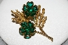 "**MBA #E46-073   ""Vintage Goldtone Green Glass Stone Flower Pin"""