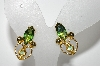 "MBA #E46-130   ""Vintage Goldtone Green Glass Stone Clip On Earrings"""