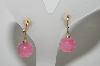 "MBA #E46-138   ""Ciner Gold Tone Pink Glass Bead Clip On Earrings"""
