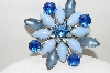 "**MBA #E46-032   ""Vintage Silvertone Multi Shades Of Blue Glass Flower Pin"""