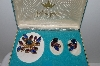 "MBA #E46-166  ""Vintage Set Of Fashion Jewels Blue & Purple Glass Stone Pin & Earrings """