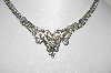 "MBA #E46-028   ""Vintage Silvertone Fancy Clear Crystal Rhinestone Necklace"""