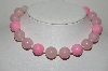 "MBA #E46-001   ""Vintage Pink Acrylic Bead Necklace"""