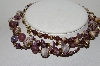 "MBA #E46-024   ""Vintage Fancy Purple Glass Bead Double Row Necklace"""