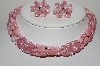 "MBA #E46-010   ""Vintage Fancy Pink Glass 4 Row Necklace With Matching Earrings"""