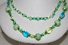 "MBA #E46-020   ""Vintage Fancy Green Glass Bead Necklace"""