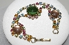 "MBA #E47-097   ""Vintage Goldtone Multi Colored Rhinestone & Glass Stone Bracelet"""