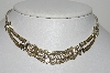 "MBA #E47-015 *  ""Vintage Plated Silver Fancy Clear Crystal Rhinestone Necklace"""