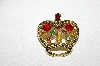 "**MBA #E47-042   ""Vintage Goldtone Multi Colored Rhinestone Crown Pin"""