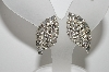 "MBA #E47-050   ""Vintage Silvertone Clear Crystal Fancy Clip On Earrings"""