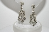 "MBA #E47-038    ""Vintage Silvertone Clear Crystal Rhinestone Earrings"""