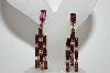 "MBA #E47-026   ""Vintage Gold Plated 11 Stone Purple Glass Rhinestone Earrings"""