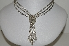"MBA #E47-001   ""Vintage Plated Silver Clear Crystal Rhinestone Necklace"""