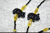 Blue Goldstone Hand carved Pigs with Black & Yellow Glass Beads