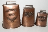"+MBA #E47-135   ""Set Of 3 Antique Copper Finish Cow Bells"""