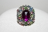 "**MBA #E47-181   ""Vintage Antiqued Silvertone Multi Colored Rhinestone Ring"""
