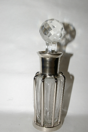 "**MBA #89-248   ""Metal Incased Clear Perfume Bottle With Glass Stopper"""