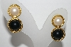 "+MBA #91-109  ""Vintage Goldtone Black Stone & Faux Pearl Pierced Earrings"""