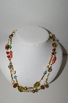 "MBA #91-112   ""Vintage Goldtone Glass, Metal & Acrylic Bead Necklace"""