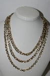 "MBA #91-114    ""Vintage Gold Plated 5 Row Chain Necklace"""